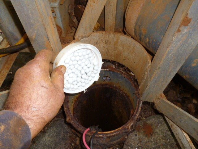 disinfecting well water with chlorine pellets after pump work has been finished