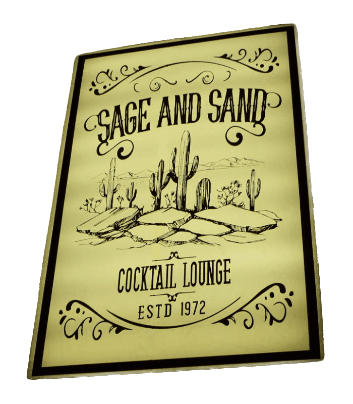 Sage and Sand Cocktail Lounge Sign